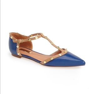 Halogen • Olson Pointy Toe Studded T-Strap Flat
